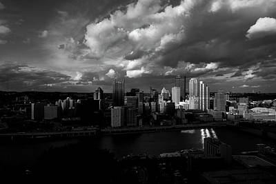 Photograph - Pittsburgh Pennsylvania Skyline Black And White  by David Haskett