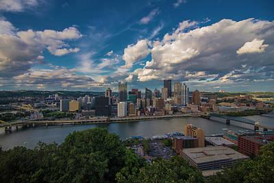 Photograph - Pittsburgh Pennsylvania Skyline Blue by David Haskett