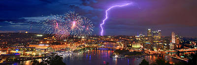 Photograph - Pittsburgh Pennsylvania Skyline Fireworks At Night Panorama 1 To 3 Ratio by Jon Holiday