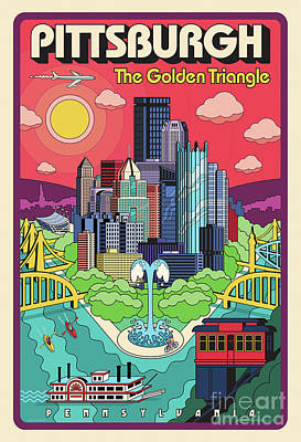 Confluence Digital Art - Pittsburgh Pop Art Travel Poster by Jim Zahniser