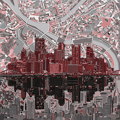Pittsburgh Painting - Pittsburgh Skyline Abstract 5 by Bekim Art