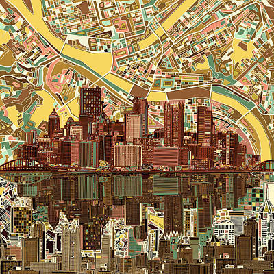 Pennsylvania Painting - Pittsburgh Skyline Abstract  by Bekim Art