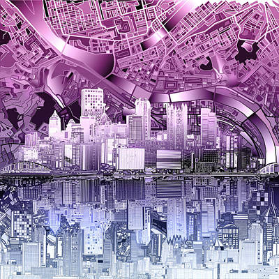 Abstract Digital Painting - Pittsburgh Skyline Abstract Purple by Bekim Art