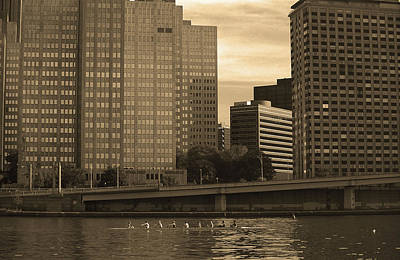 Pittsburgh Skyline And River 2001 Sepia Art Print by Frank Romeo