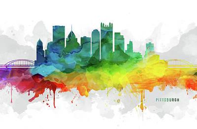 Pittsburgh Arts Digital Art - Pittsburgh Skyline Mmr-uspapi05 by Aged Pixel