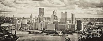 Pittsburgh Skyline Pano Bw Art Print by Pittsburgh Photo Company