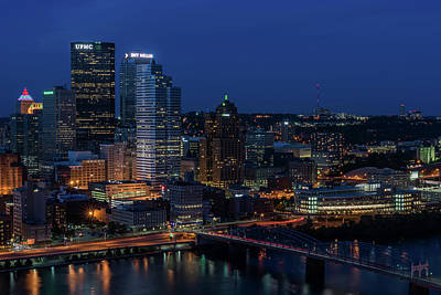 Photograph - Pittsburgh Skyline Smithfield Street Bridge At Night by Terry DeLuco