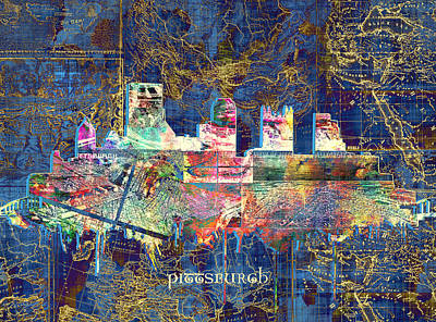 Old Map Painting - Pittsburgh Skyline Vintage by Bekim Art