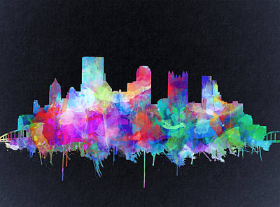 Abstract Digital Painting - Pittsburgh Skyline Watercolor 6 by Bekim Art