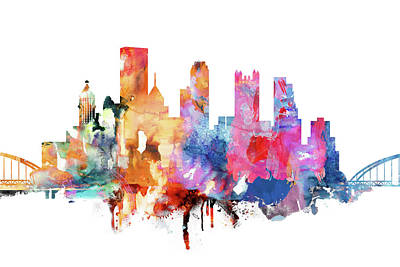 Pittsburgh Skyline Painting - Pittsburgh Skyline Watercolor  by Dim Dom