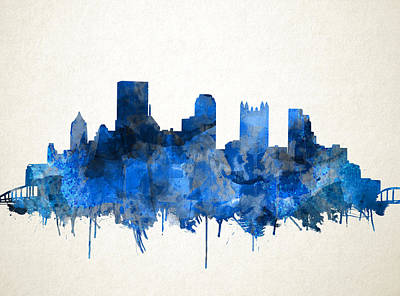 Abstract Digital Painting - Pittsburgh Skyline Watercolor Blue by Bekim Art