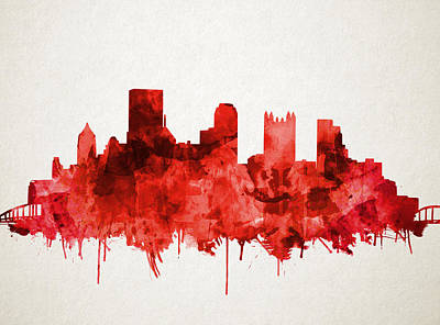 Painting - Pittsburgh Skyline Watercolor Red by Bekim Art