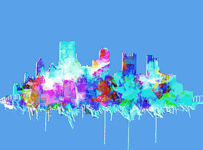 Vintage Map Digital Art - Pittsburgh Skyline Waterolor 2 by Bekim Art