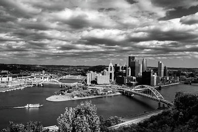 Food And Flowers Still Life - Pittsburgh Skyline with Boat by Michelle Joseph-Long