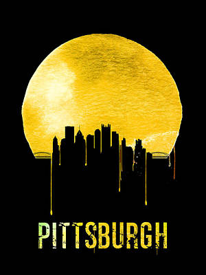 Panorama Digital Art - Pittsburgh Skyline Yellow by Naxart Studio
