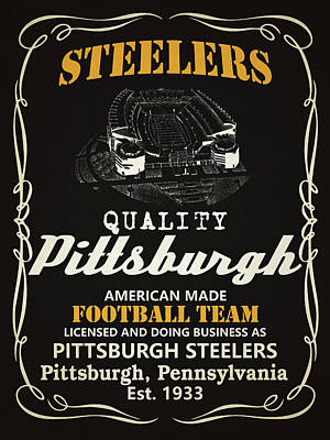Team Mixed Media - Pittsburgh Steelers Whiskey by Joe Hamilton