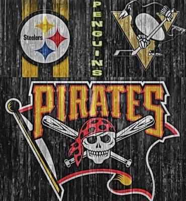 Baseball Mixed Media - Pittsburgh Teams Barn Door by Dan Sproul