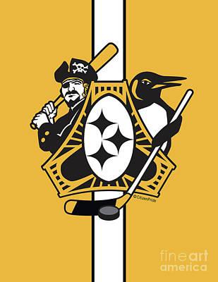 Digital Art - Pittsburgh-three Rivers Roar Sports Fan Flag by Joe Barsin
