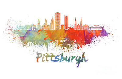 Pittsburgh Painting - Pittsburgh V2 Skyline In Watercolor by Pablo Romero