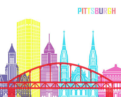 Pittsburgh Painting - Pittsburgh V2 Skyline Pop by Pablo Romero