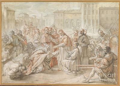 Pius V And The Ambassador Of The King Of Poland Art Print