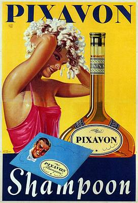 Royalty-Free and Rights-Managed Images - Pixavon Shampoon - Austria - Vintage Advertising Poster by Studio Grafiikka