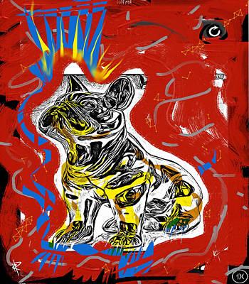 Silks Mixed Media - Pixel Dog by Russell Pierce