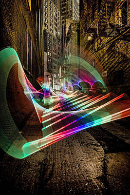 Dumpster Photograph - Pixel Stick Light Painting In Chicago Alley by Sven Brogren