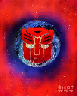 Pixeled Autobot Art Print by Justin Moore