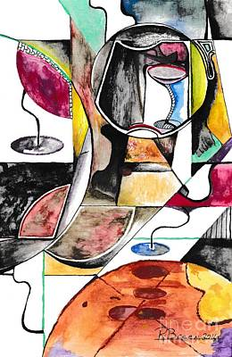 Wine Drawings - Pizza and Wine by Ronda Breen