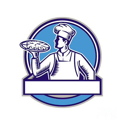 Pizza Chef Serving Pizza Circle Woodcut Art Print