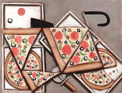 Print featuring the painting Tommervik Pizza Delivery Bicycle Art Print by Tommervik