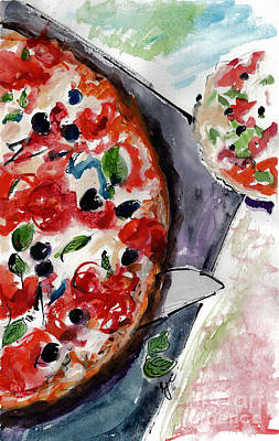 Painting - Pizza Diptych Original Italian Food Right Half by Ginette Callaway