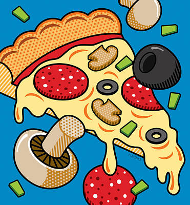 Pizza On Blue Art Print by Ron Magnes