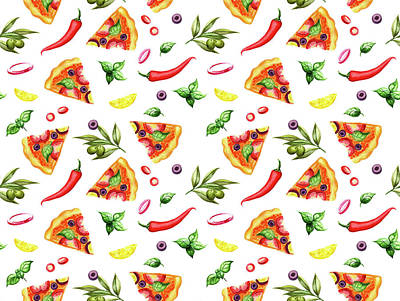 Snack Bar Digital Art - Pizza Pattern by Ekaterina Efanova