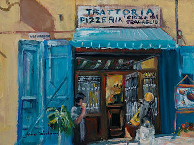 Italian Street Painting - Pizzaria - Cortona by Jane Woodward
