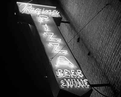 Photograph - Pizzeria Regina Boston Ma North End Thacher Street Black And White by Toby McGuire