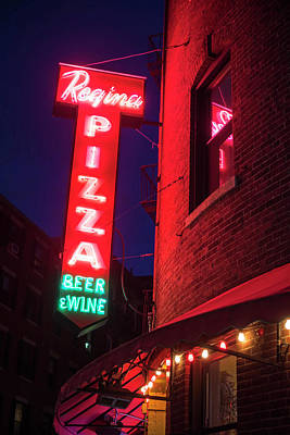 Pizzeria Regina Boston Ma North End Thacher Street Neon Sign Art Print