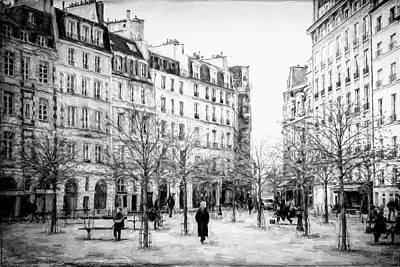 Ile De La Cite Photograph - Place Dauphine Paris Bw Grunge by Joan Carroll
