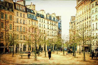 Ile De La Cite Photograph - Place Dauphine Paris Grunge by Joan Carroll