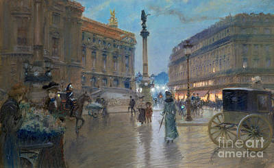 Raining Painting - Place De L Opera In Paris by Georges Stein