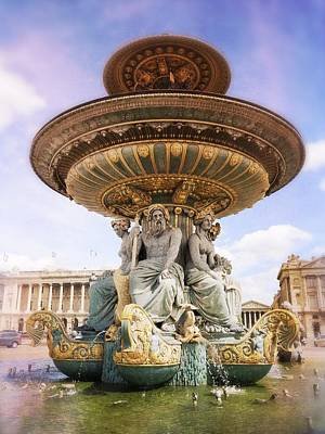 Thomas Kinkade Rights Managed Images - Place de la Concorde Fountain Royalty-Free Image by Heidi Hermes