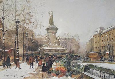 Gouache Painting - Place De La Republique Sous La Neige by MotionAge Designs