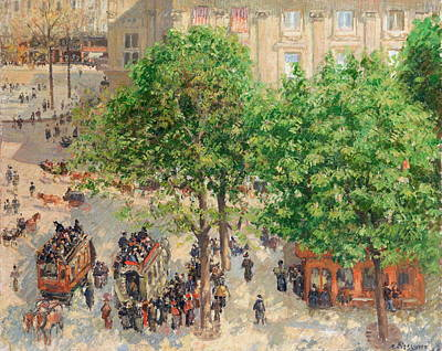 Public Holiday Painting - Place Du Theatre  by Camille Pissarro