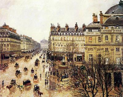 Place Du Theatre Francais  Art Print by Camille Pissarro