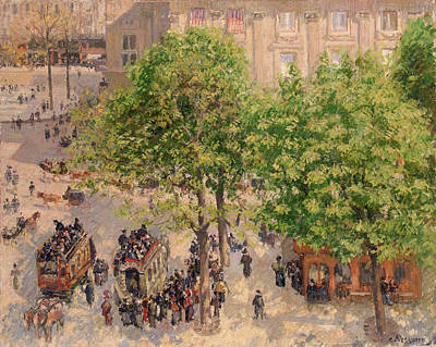 Streetscape Painting - Place Du Theatre-francais, Spring by Camille Pissarro