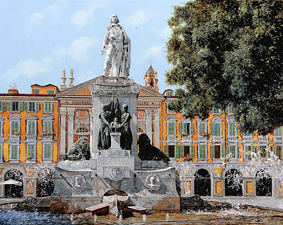 Fountain Wall Art - Painting - Place Garibaldi In Nice  by Guido Borelli