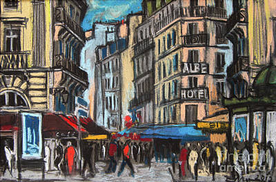 Pastel - Place Saint-michel In Paris by Mona Edulesco