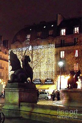 Photograph - Place Saint Michel Vertical - Winged Lions by Felipe Adan Lerma