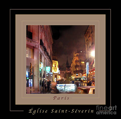 Photograph - Place St Michel - West To Eglise Saint Severin Greeting Card And Poster V2 by Felipe Adan Lerma